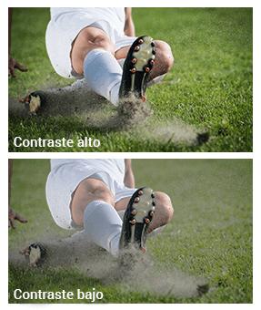 Diferencia en la imagen con alto y bajo contraste